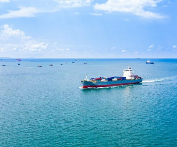 transportation business cargo containers logistics shipping service import and export international by the sea  aerial view from drones camera