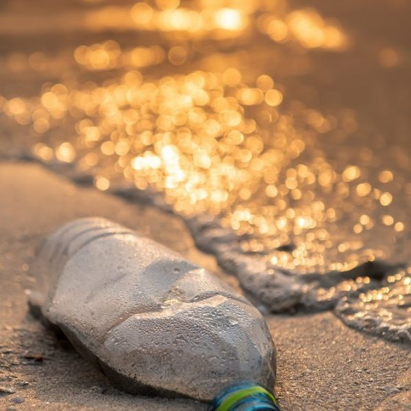 Plastic bottle on the beach with outdoor sun set low lighting and dark shadow.